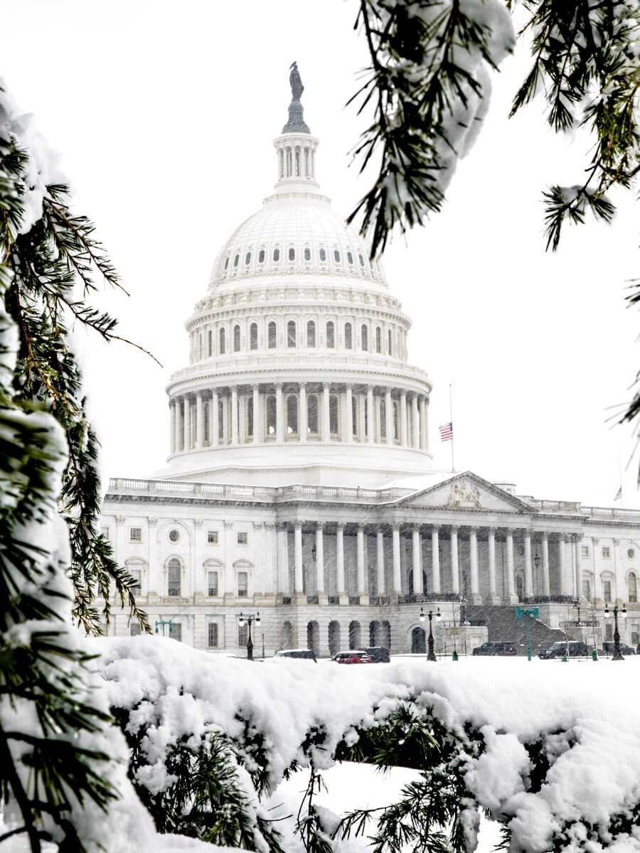 The U.S. Capitol Grounds in Washington, DC on a Spring Snow Day. Credit: Caleb Fisher